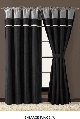 Blaine Black and Grey Curtain Set
