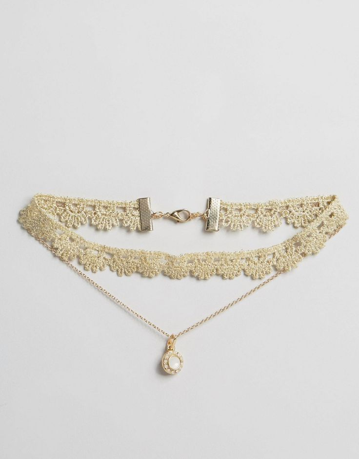 Collier court multi-rangs en dentelle