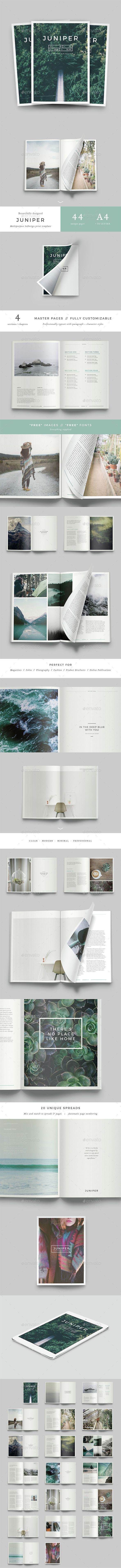 Juniper Magazine / Portfolio Template InDesign INDD. Download here: http://graphicriver.net/item/juniper-magazine-portfolio/14880769?ref=ksioks