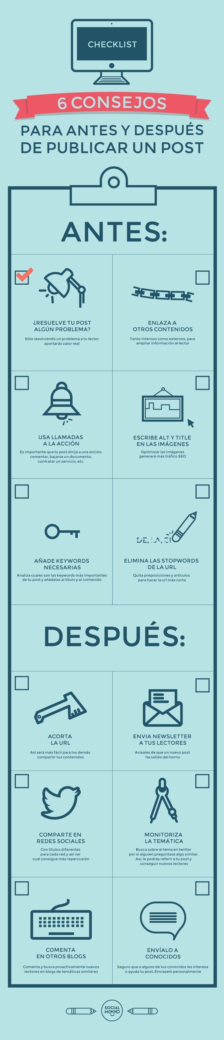 12 Consejos para publicar un post. #Blog #SocialMedia #Infografia