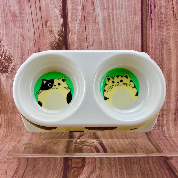 """Twin Double Cat Food dishes 4"""" each bowl cat print design pets food animals new"""