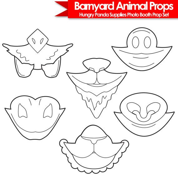 Barnyard Animals Printable Photo Booth Props, black and white props, farm animal prop, farm animals costume