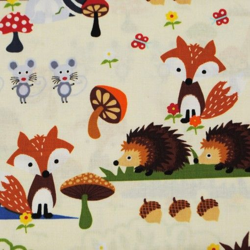 Timeless Treasures, bushy. Foxes, hedgehogs, deer. Cotton fabric. Bosdieren kinderstof.