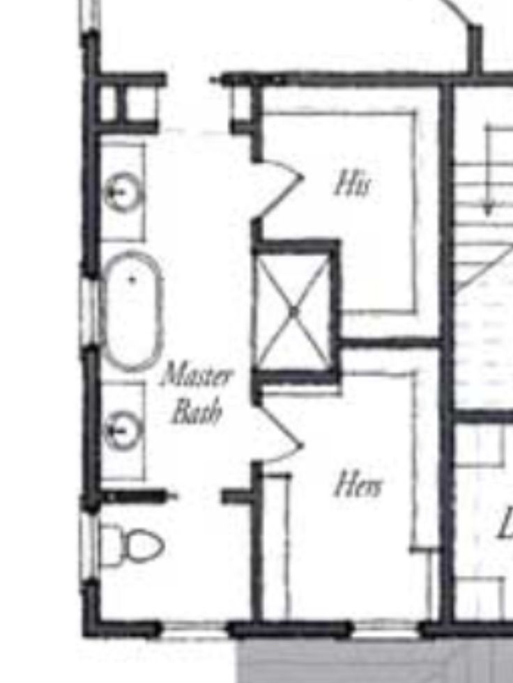 Master bath floor plan except i see no need for his her for Master bath and closet plans