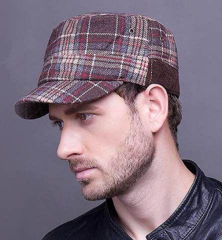 Vintage plaid baseball cap for men wool hats