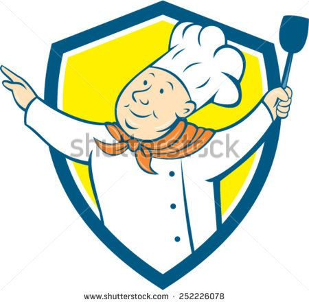 Illustration of a chef cook baker arms out holding spatula looking up to the side set inside shield crest on isolated background done in cartoon style.  - stock vector #chef #cartoon #illustration