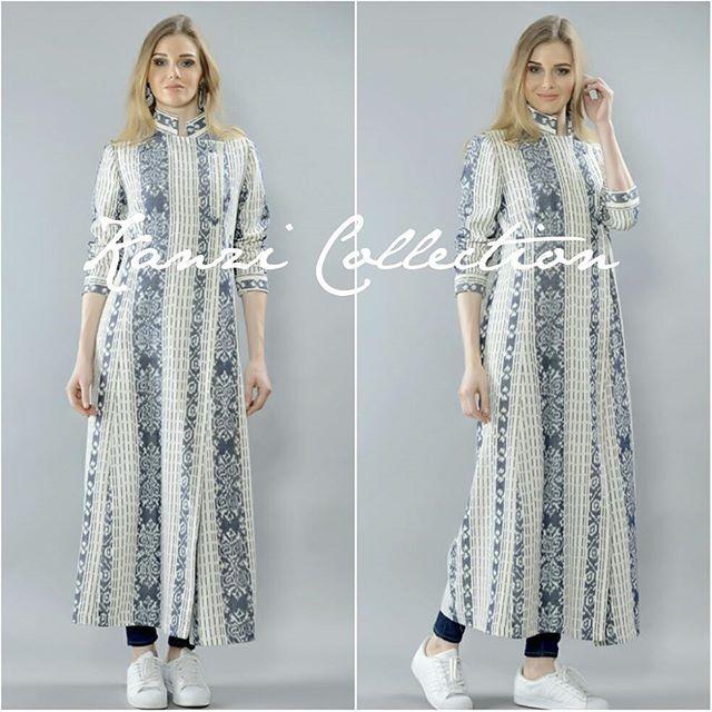 White handwoven abaya ikat dress