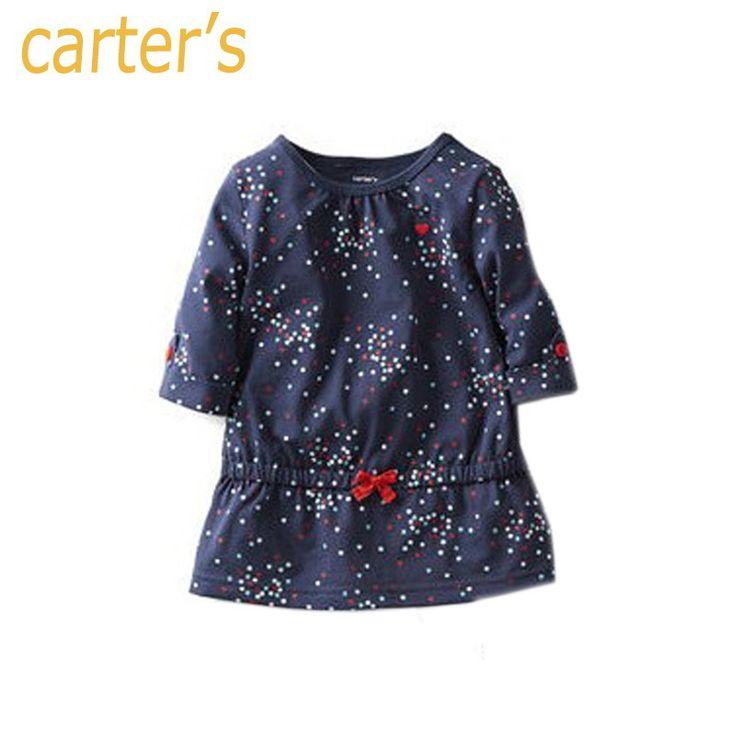 Nouveau 2014 tenue décontractée pour bébé& jeunesse, 100% fille robe de coton/bleu, dot. charretiers bébé dans de sur Aliexpress.com