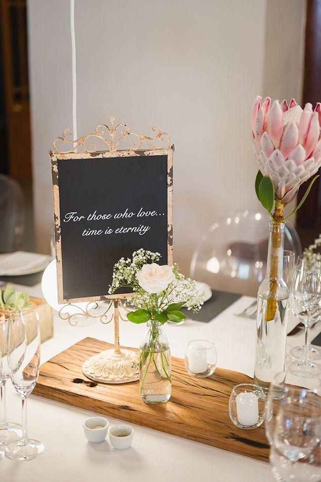 Protea Reception Table Decor // Vintage Elegance Neutral South African Wedding //Lauren Kriedemann photography // via www.ConfettiDaydreams....