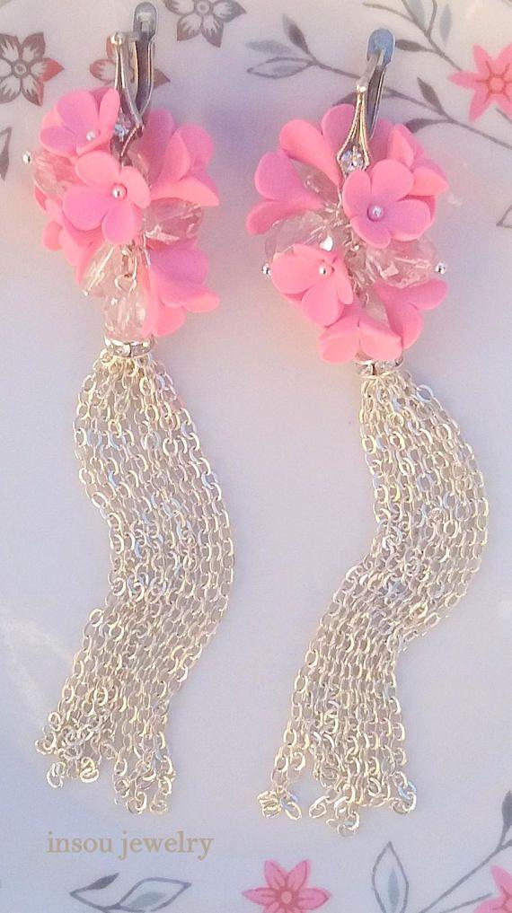 Flower EarringsWedding EarringsLight Pink Earrings Romantic