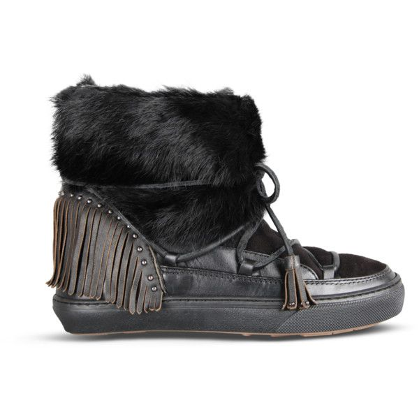 Inuikii black fur winter sneakers (25.155 RUB) ❤ liked on Polyvore featuring shoes, sneakers, shearling lined winter boots, black trainers, winter fur boots, slim shoes and fringe shoes