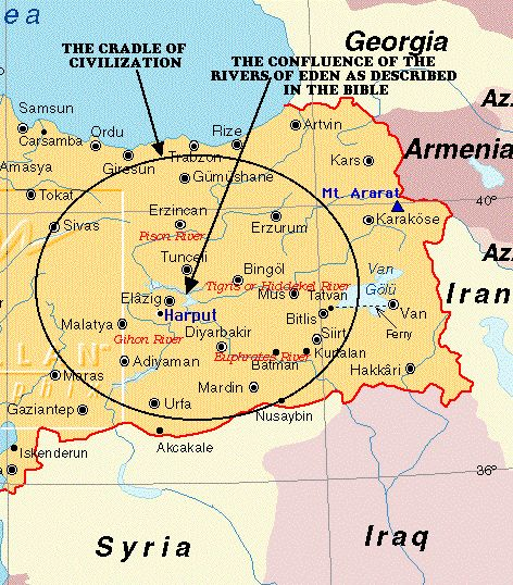 """A map of the cradle of civilization map and of the biblical description of """"The Garden Of Eden""""."""