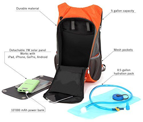Solar Powered Backpack with 10000mAh Power Bank 7W Solar Panel  2L Hydration Pack  Camping Hiking Portable Travel Sun Charger Kit for Smart Cell Phones Tablet Camera  by Powerfly -- Be sure to check out this awesome product.
