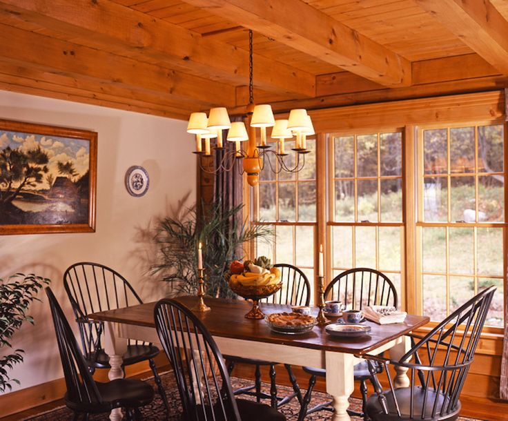 Colonial Log Home Dining Room