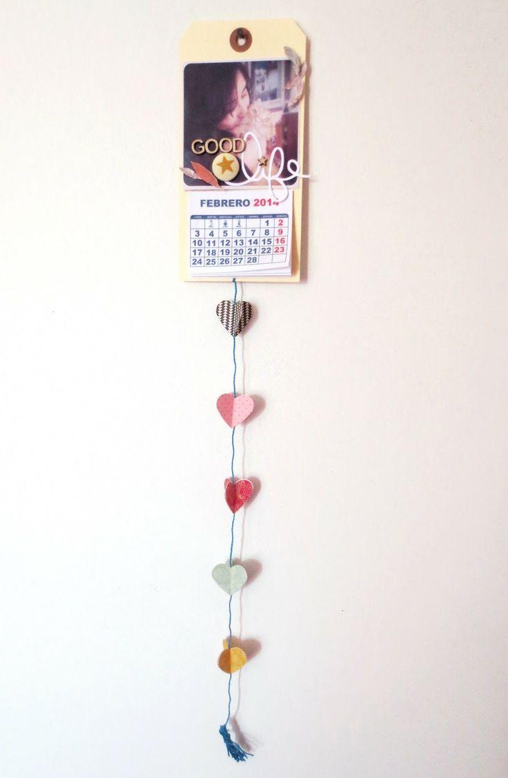 Tutorial: Calendario con Colgante de Corazones por @Cari Lup  Tutorial: Heart Hanging Calendar by @Cari Lup