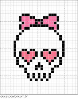 A quick and easy skull cross stitch chart for girls