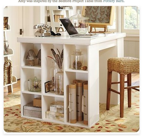 http://knockoffdecor.com/white-cubby-craft-table/: Office, Idea, Project Table, Craftroom, Craft Tables, Pottery Barn, Crafts, Craft Rooms