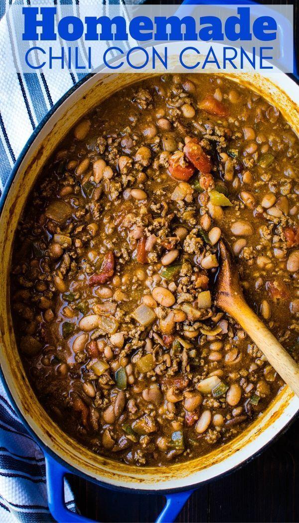 Hearty Homestyle Chili Con Carne Recipe Chili Recipe Using Dried Beans Homemade Chili Homemade Chili Beans