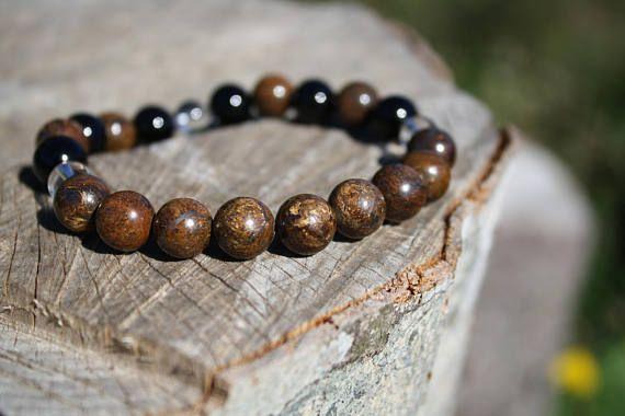 Courtesy, Sincerity and courage bracelet / Bronzite, Black Onyx, Rock Crystal Quartz. Genuine Power stones JUZU mala Bracelet.