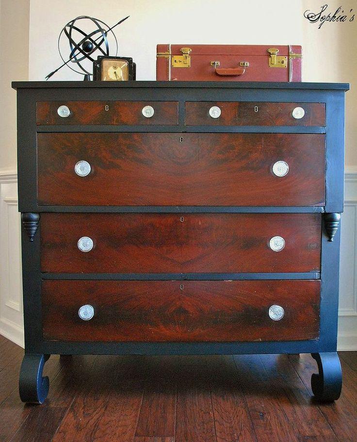 empire dresser makeover black trim around mahogany dresser awesome black painted mahogany
