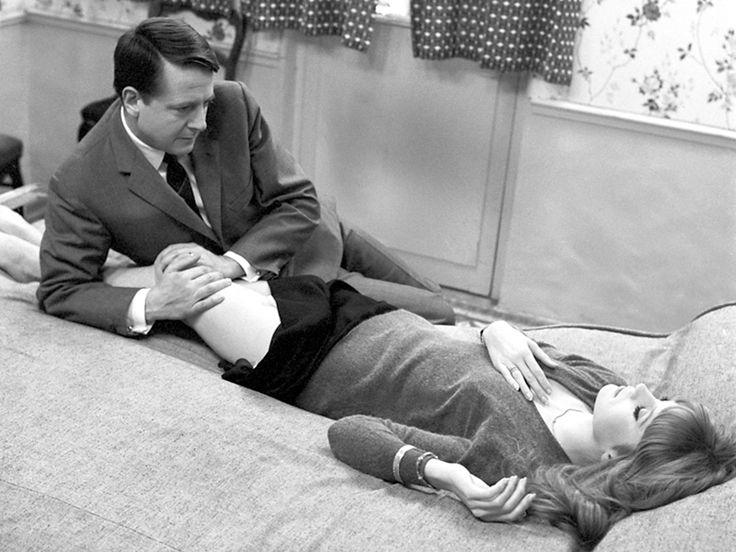 Jean Desailly, Françoise Dorléac / production still from François Truffaut's La peau douce [English title: The Soft Skin] (1964)