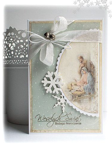 Beautiful Christmas Card...with soft ribbon, snowflakes, & jingle bells.