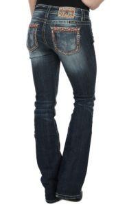 Miss Me Women's Medium-Dark Wash Aztec Edge Open Pocket Mid-Rise Boot Cut Jean | Cavender's