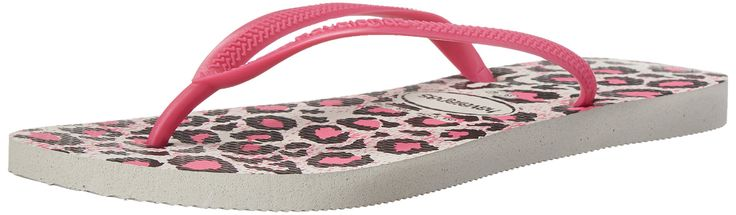 Havaianas Women's Slim Animals Flip Flop, White/Rose, 37 BR/7/8 M US. Flip-flop featuring textured thong strap with raised logo. Animal-print cushioned footbed with textured rice pattern.
