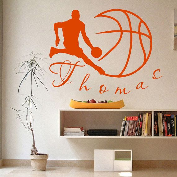 Muro decalcomanie Sport pallacanestro giocatore palla gioco Team Monogram Boy personalizzato nome bambino qualsiasi camera palestra Vinyl Decal Sticker Home Decor ML197