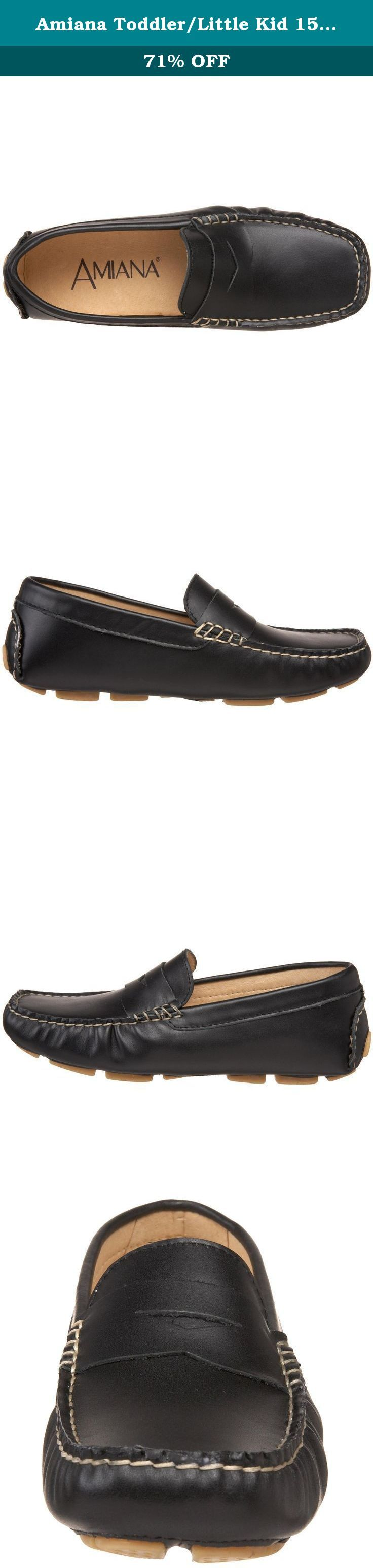 Amiana Toddler/Little Kid 15/A0412 Moccasin,Black,30 EU(US Little Kid 12-12.5 M).