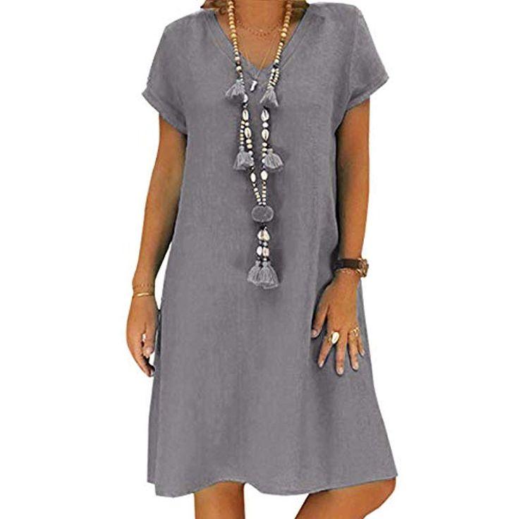 Yidarton Sommerkleid Leinen Kleider Damen V-Aussch…