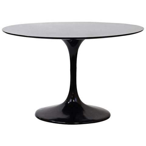 This Classic Black Pedestal Dining Table Is Made Of High Gloss
