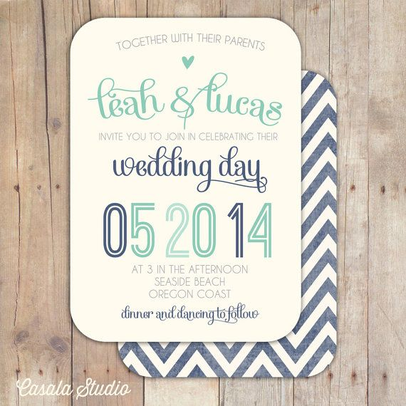 Rustic Vintage Turquoise Coral Mustard Navy Vintage Script Wedding Invite Printable Invitation OR Printed Card