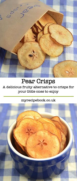 Pear crisps – A delicious, fruity alternative to crisps for your little ones to enjoy. Really easy to make and no nasty added extras.