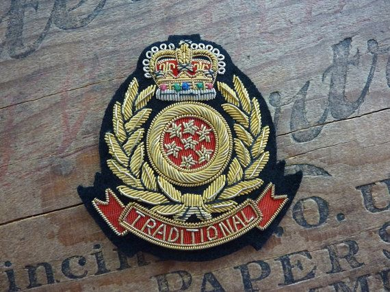 Vintage Handmade Bullion Crest Applique