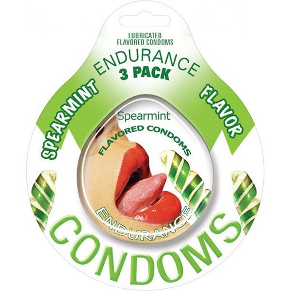 Endurance Flavored Condom 3 Pack Spearmint - Endurance Lubricated Flavored Condoms Spearmint erotically, delicious flavors. Condoms are an essential item for any individual that enjoys a healthy sex life. These flavored and lubricated condoms help you to enjoy all aspects of sexual intimacy while practicing safer sex habits. This product contains natural rubber latex. Innovative packaging design allows for quick and easy opening. Do yourself and your partner a favor. Get it flavored.