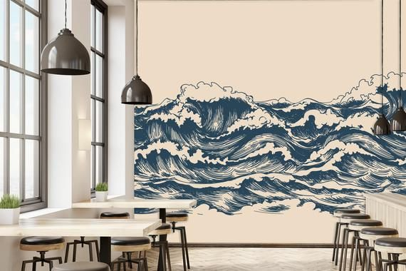 Waves painting wallpaper,japanese decor,oriental, wall