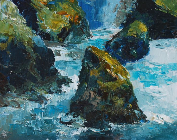 Rocky Coast Cornwall 1, Oil painting by Brian Hanson | Artfinder