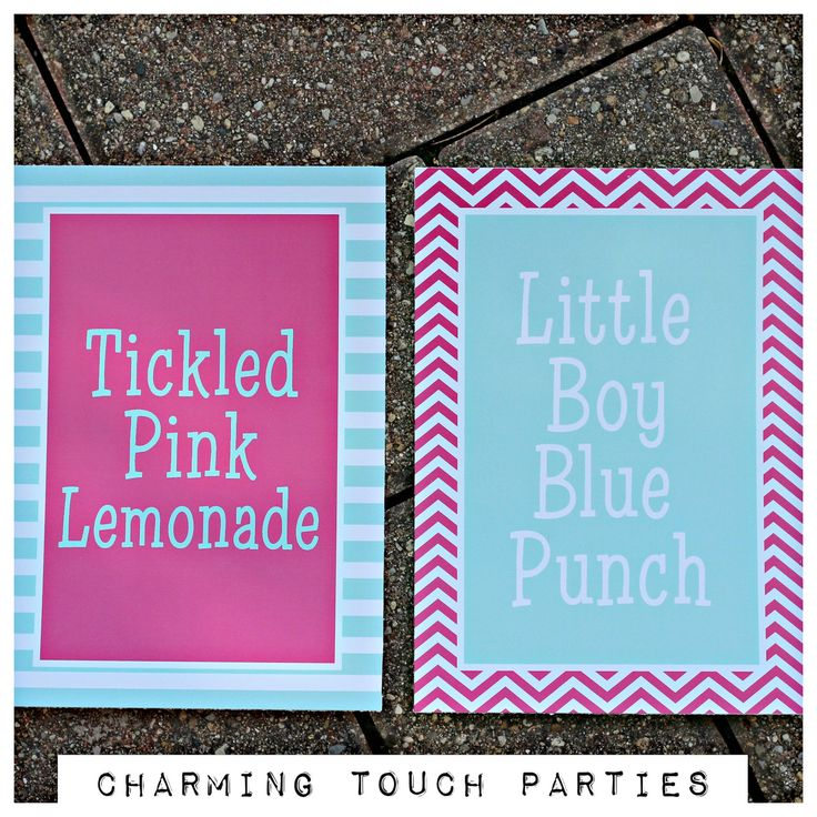 Gender Reveals Signs by Charming Touch Parties, Two 5x7 signs, physical product. Hot pink and Tiffany Blue. Customizable. by CharmingTouchParties on Etsy