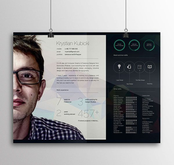 Free CV-Resume Template Design For Creative Designers 1