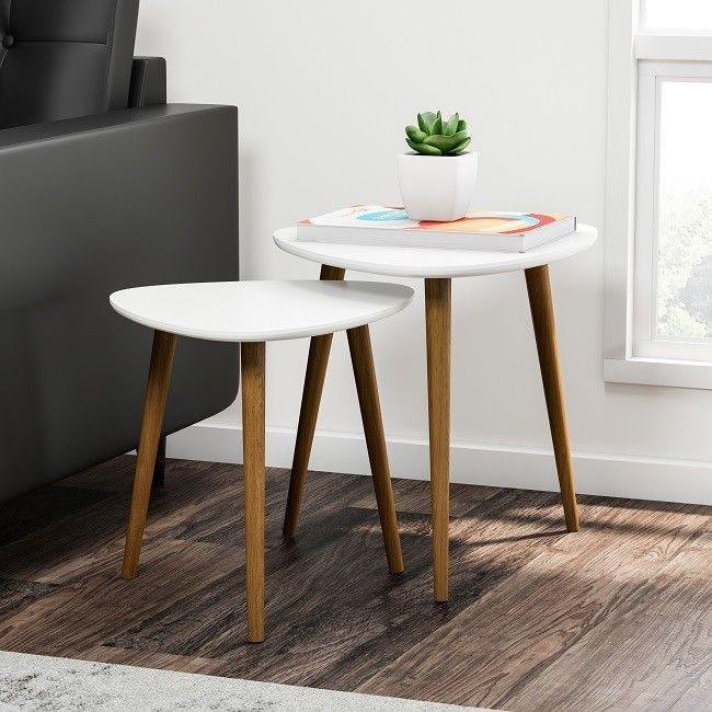 nesting table set end side tables accent living room triangle sturdy rh pinterest com