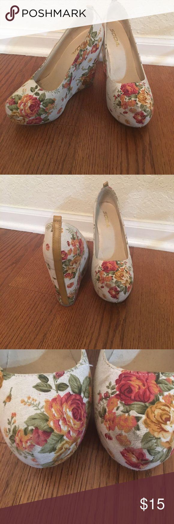 Floral wedges Platform wedges slight scuff on toe. Soda Shoes Wedges