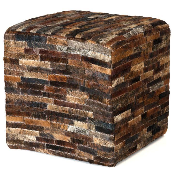 Leather Pouffe | Brown | 45cm by The NY Loft on POP.COM.AU