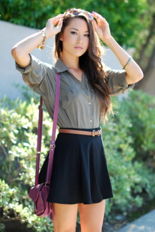olive blouse with navy skirt and brown belt