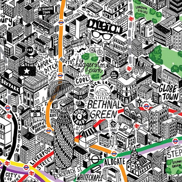 Excerpt of a wonderful map drawn by artist & illustrator Jenni Sparks. It's a hand-drawn map of central and inner-city London. Tube/train lines, parks and rivers are coloured, everything else is shown in black-and-white. Buildings are all drawn in a 45-degree isometric style. Annotations reveal characteristics of an area that won't appear on traditional maps. Dalston comes with a bicycle, plastic-framed glasses and a moustache. Canary Wharf is festooned with various currency symbols.