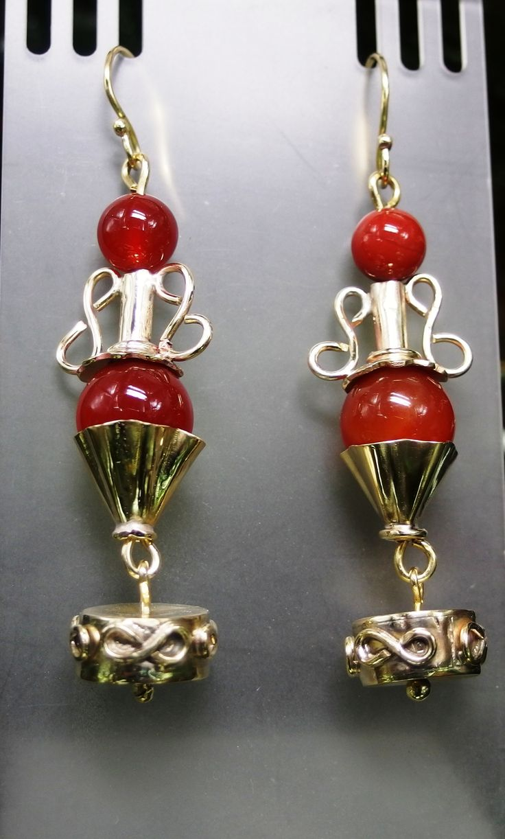 Ancient Greek handmade carnelian brass earrings