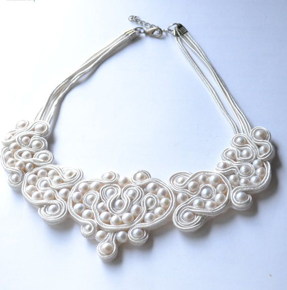 Natural fresh water pearls white soutache by KristineJewelry, $70.00