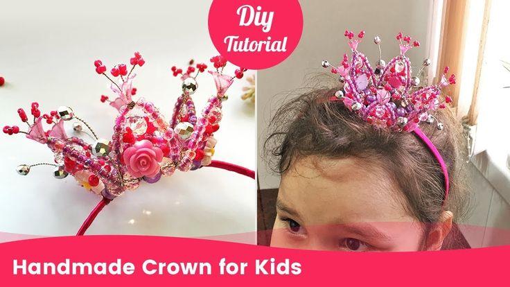 Corona con cuentas hecha a mano para niños. Tiny Tiara para niñas de cue...