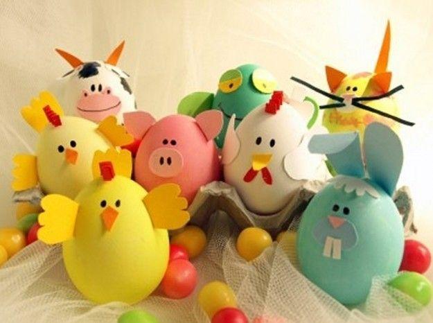 Huevos de pascua decorados como animales, ideas bonitas, actividades pascua niños