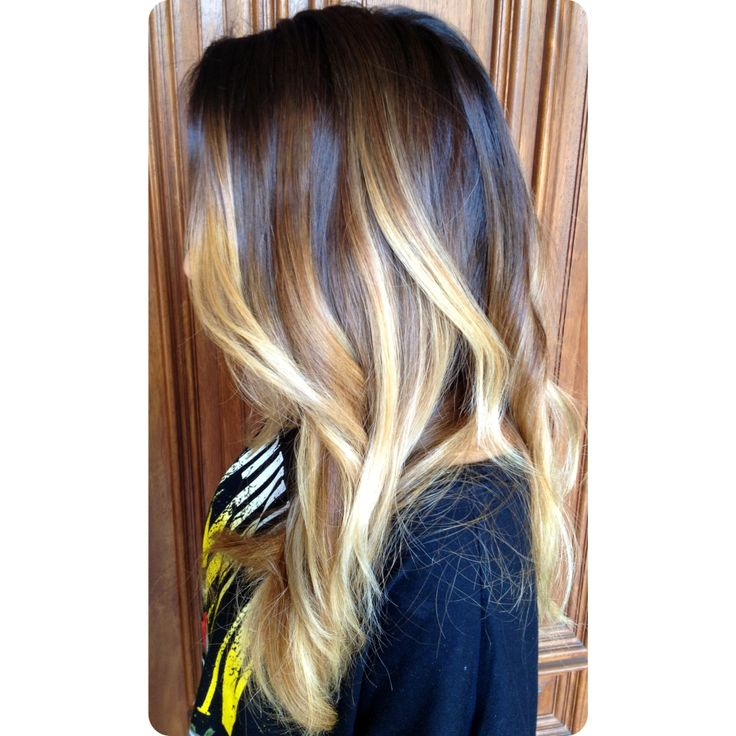 Dramatic Brunette To Blonde Balayage Ombre Color And Curly